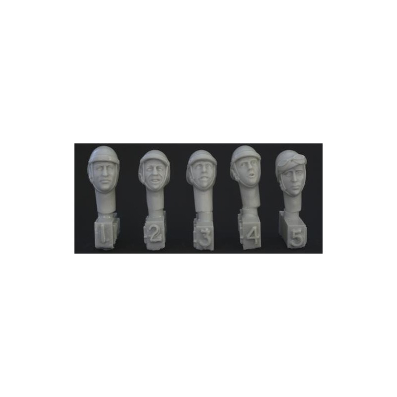 HOR-HFH04 1/35 5 different heads with French WW2 tanker   helmet