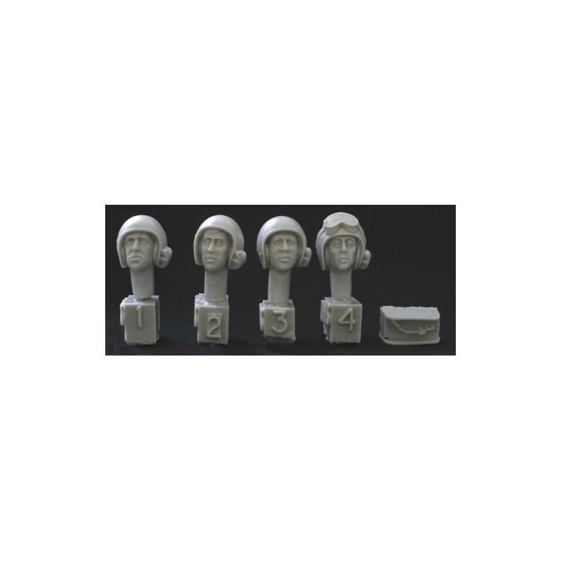 HOR-HUH03 1/35  4 heads. US AFV helmet, mics 1960s