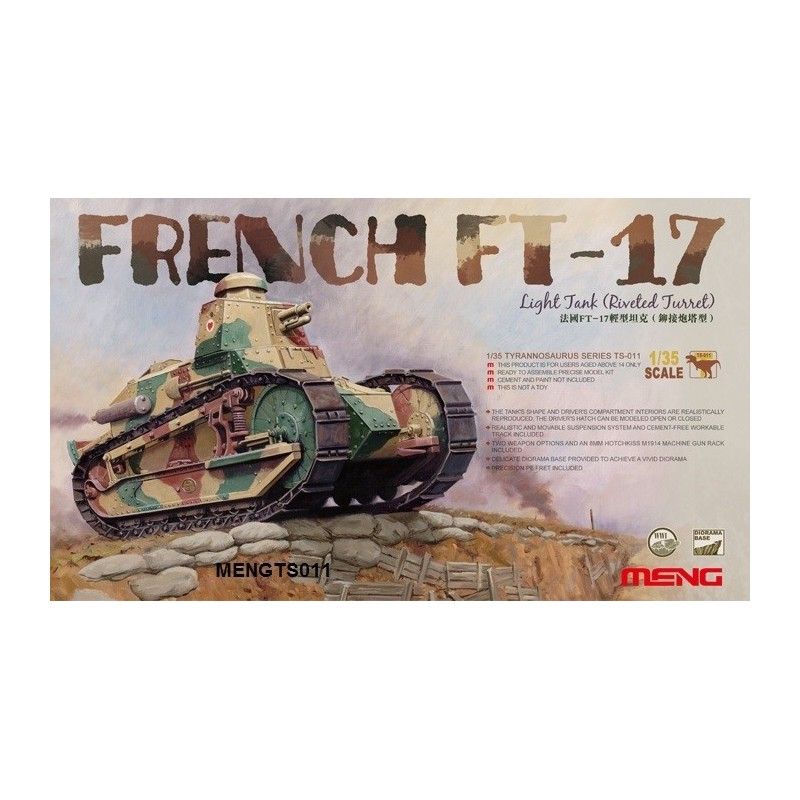 MENG-TS011 1/35  FRENCH FT-17 LIGHT TANK (RIVETED TURRET)