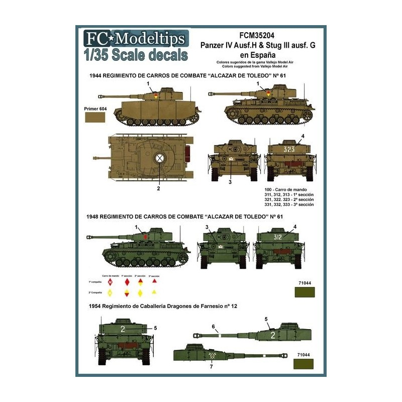 FC-35204 1/35 Calcas Panzer IV y Stug III en España