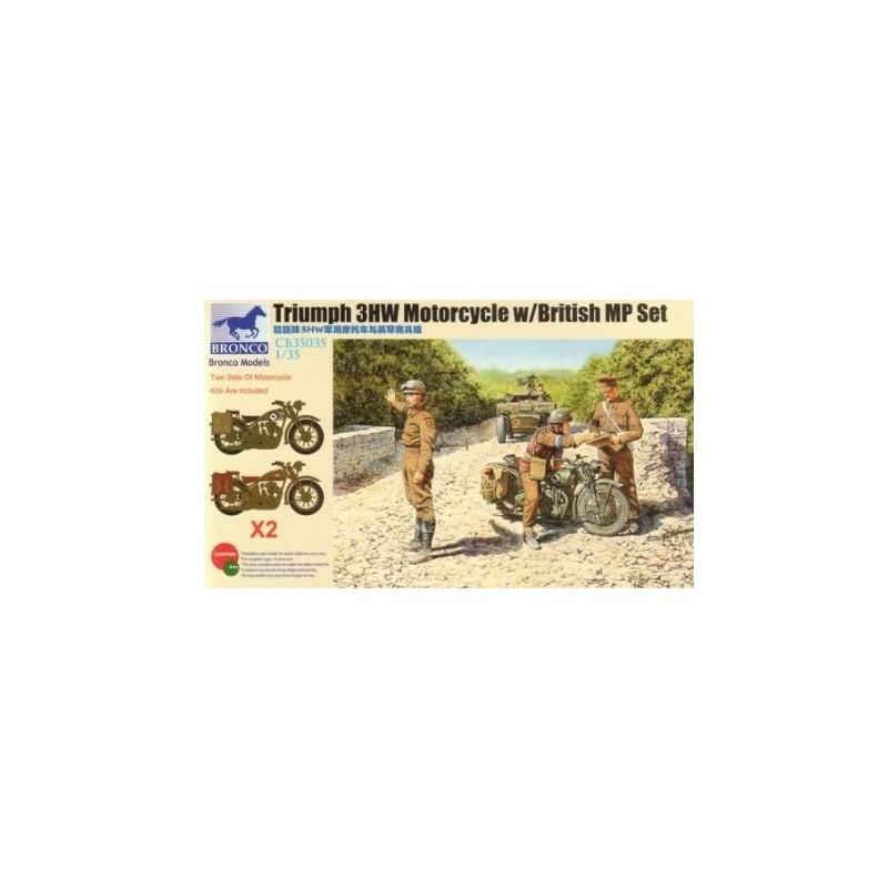 BM-35035 bronco model 35035 1/35 Triumph 3HW Motorcycle w/MP Figure Set +fotograbados