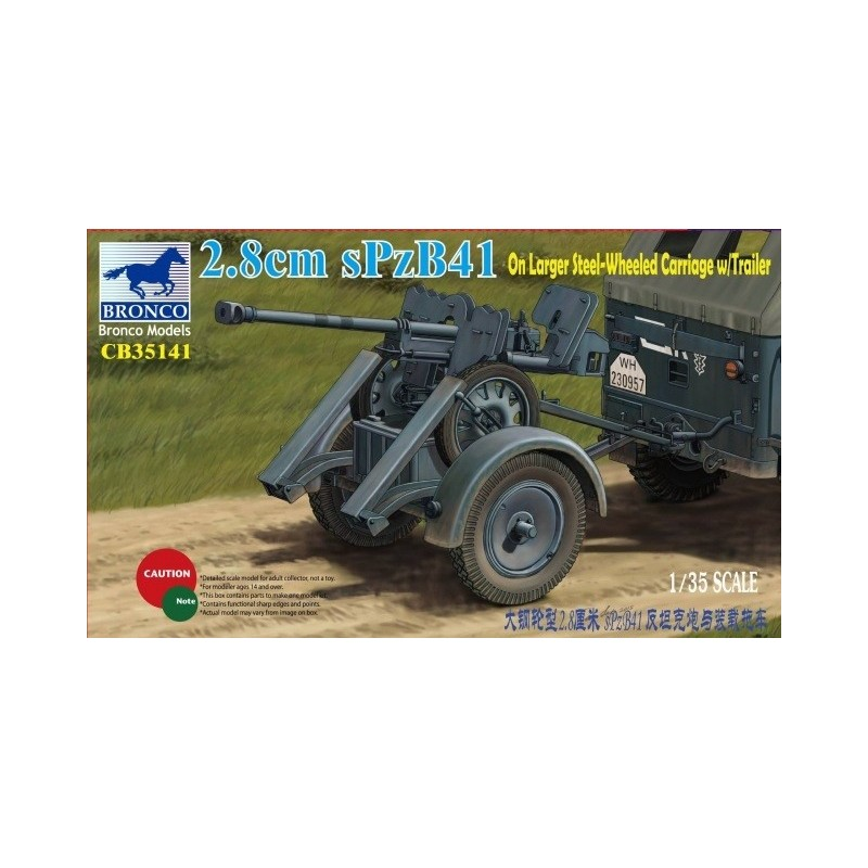 BM-35141 bronco model 35141 1/35  2,8cm sPzb41 On Larger Steel-Wheel