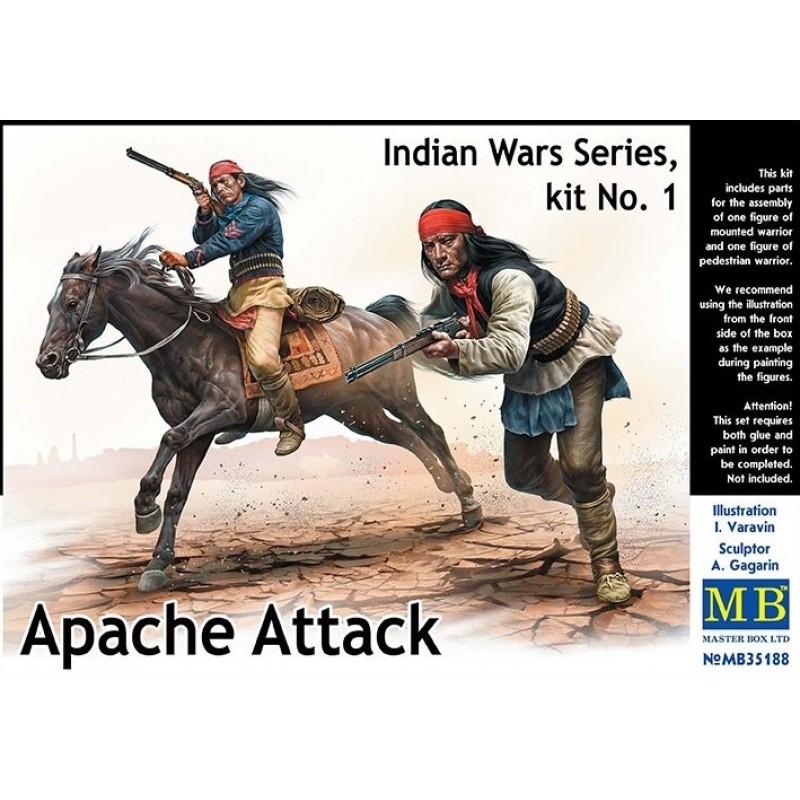 MB-35188 MASTER BOX 35188 1/35 Indian Wars Series, kit No. 1. Apache Attack