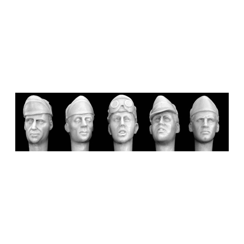 HOR-HIH03 HORNET HIH03 1/35  ITALIAN 5 ASSORTED HEADS - Officers in Field Caps