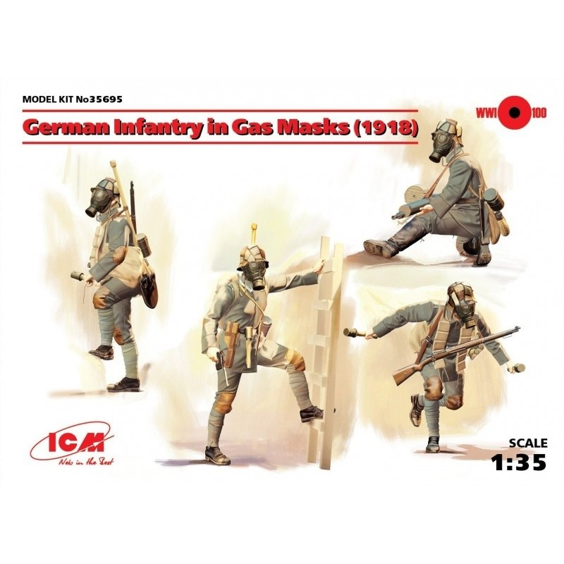 ICM-35695 ICM 35695 1/35 German Infantry in Gas Masks (1918) (4 figures)