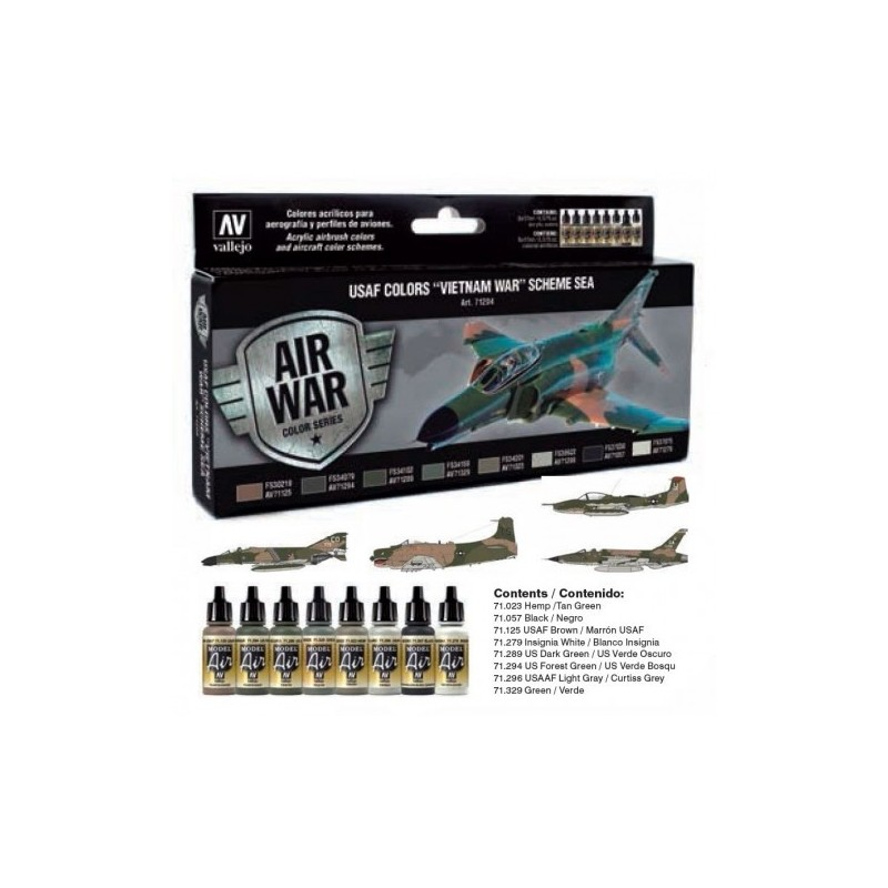 VAL-71204 Acrylicos Vallejo 71204 USAF Colors Vietnam War Scheme SEA South East Asia (8)