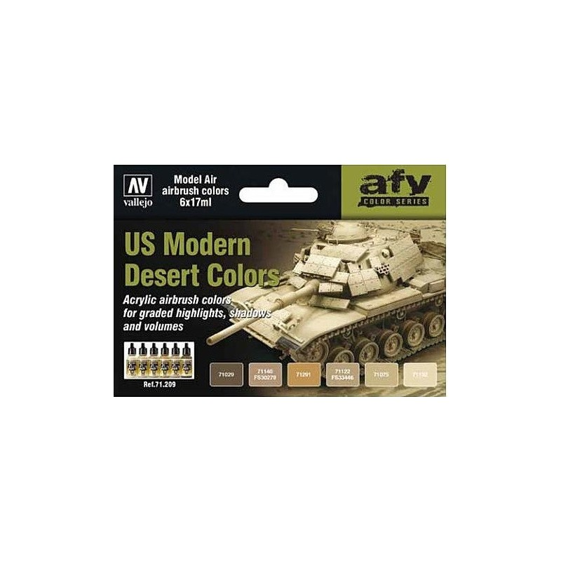 VAL-71209 acrylicos vallejo 71209 US Modern Desert Colors (6) (17 ml)