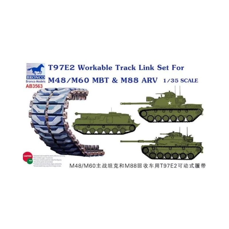 BM-3563 Bronco Models AB3563 1/35 T97e2 Workable Track Link Set for M48/m60 MBT  M88 ARV