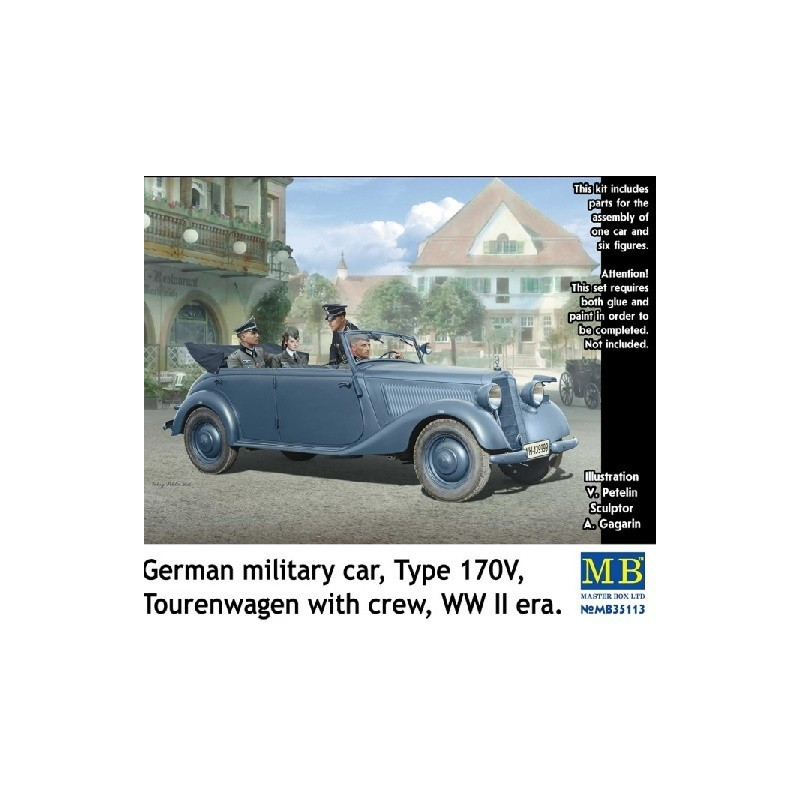 MB-35113 Master Box 35113 1/35 German military car, Type 170V, Tourenwagen with crew, WW II era