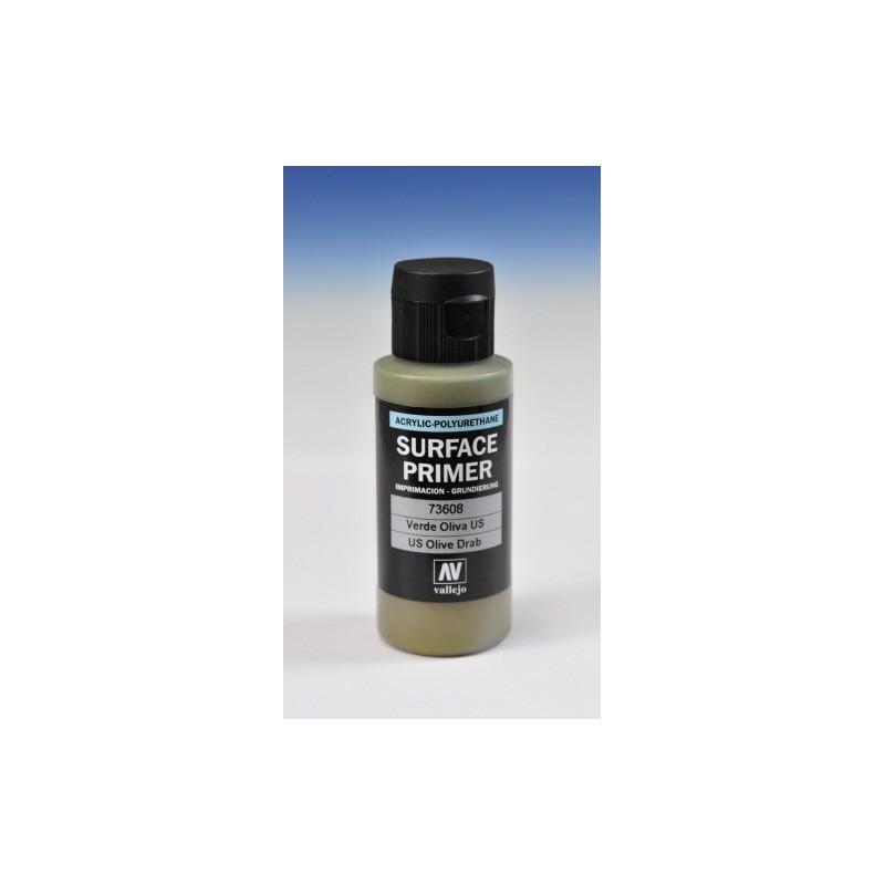 VAL-73608 Acrylicos Vallejo 73608 Imprimación Acrilica-Poliuretano. Frasco 60 ml. Verde Oliva U.S.
