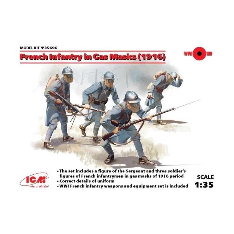 ICM-35696 ICM 35696 1/35 INFANTERIA FRANCESA CON MASCARAS DE GAS 1916
