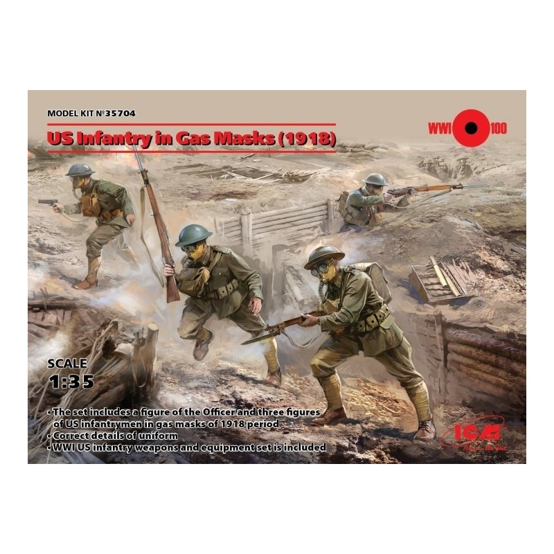 ICM-35704 ICM 35704 1/35 US Infantry in Gas Masks
