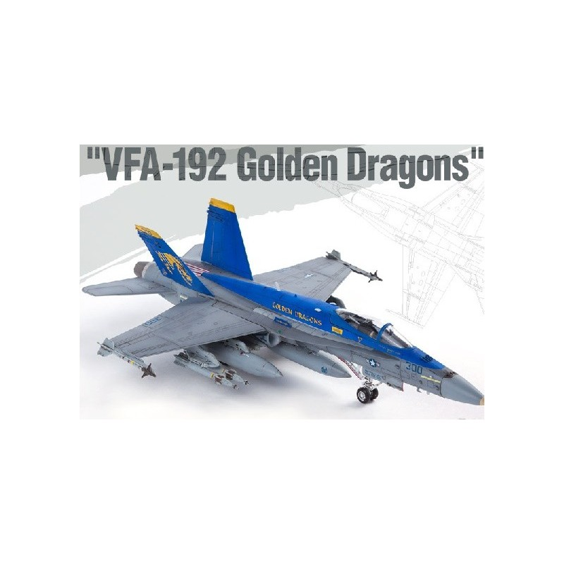 "ACA-12564 ACADEMY 12564 1/72 USN F/A-18C ""VFA-192 GOLDEN DRAGONS"""