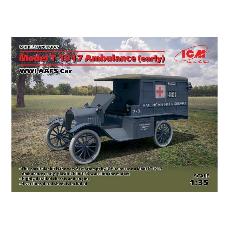 ICM-35665 ICM  35665  1/35 Model T 1917 Ambulance (early), WWI AAFS Car