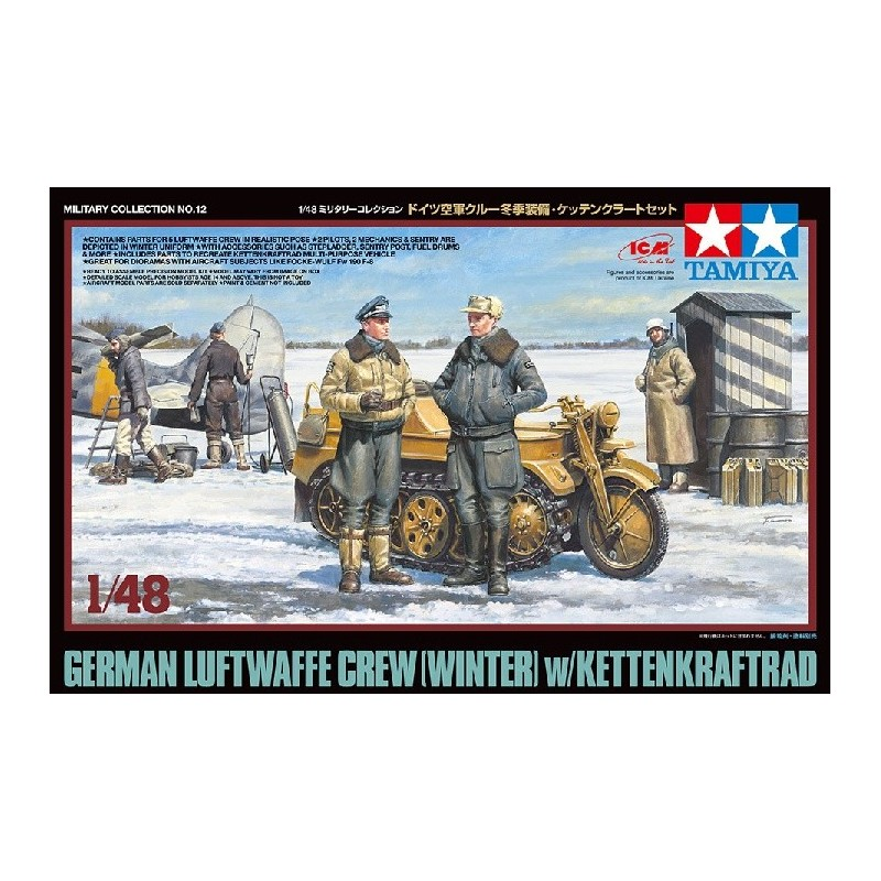 TAM-32412 Tamiya 32412 1/48 German Luftwaffe Crew (Winter) w/Kettenkraftrad