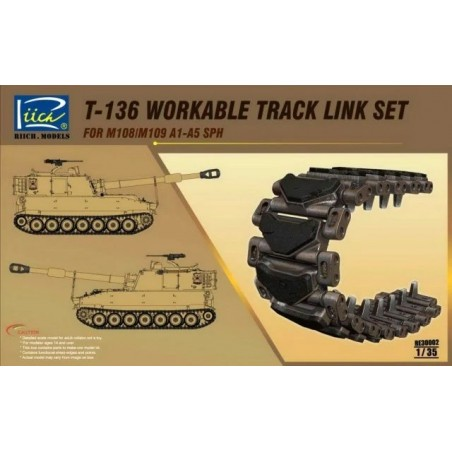 RC-30002 RIICH MODELS 30002 1/35 T-136 Workable Track set for M108/M109A1-A5 SPH