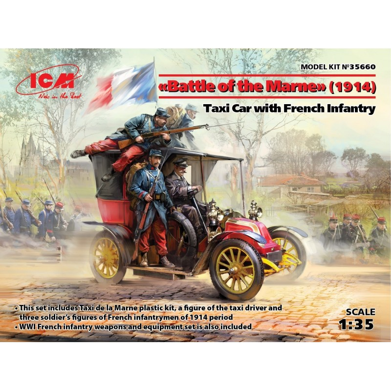 ICM-35660 ICM 35660 1/35 Taxi Car w/French Infantry Battle of the Marne 1914