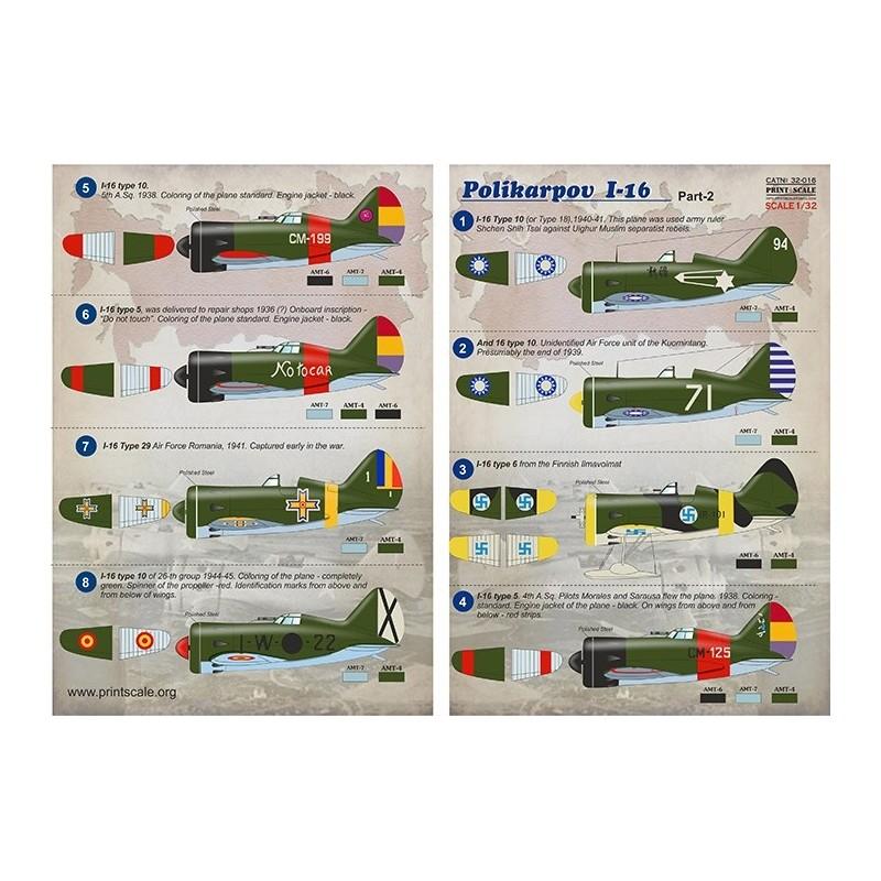 PRI-32016 printscale 32016 1/32 Polikarpov I-16 Part 2  The complete set 2 leaf