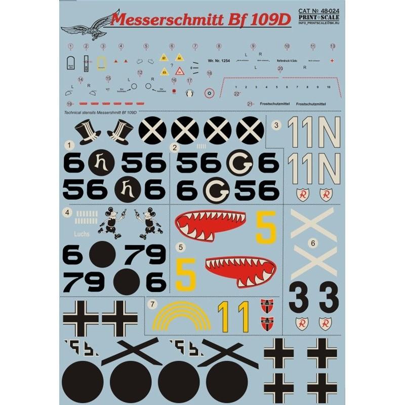 PRI-48024 printscale 48024 1/48 Me-109 D  Wet decal