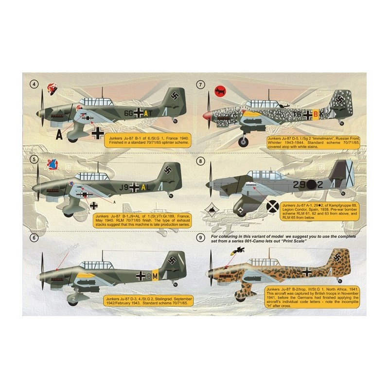 PRI-48032 printscale 48032 1/48 Junkers Ju - 87 Stuka Wet decal The complete set 2 leaf.