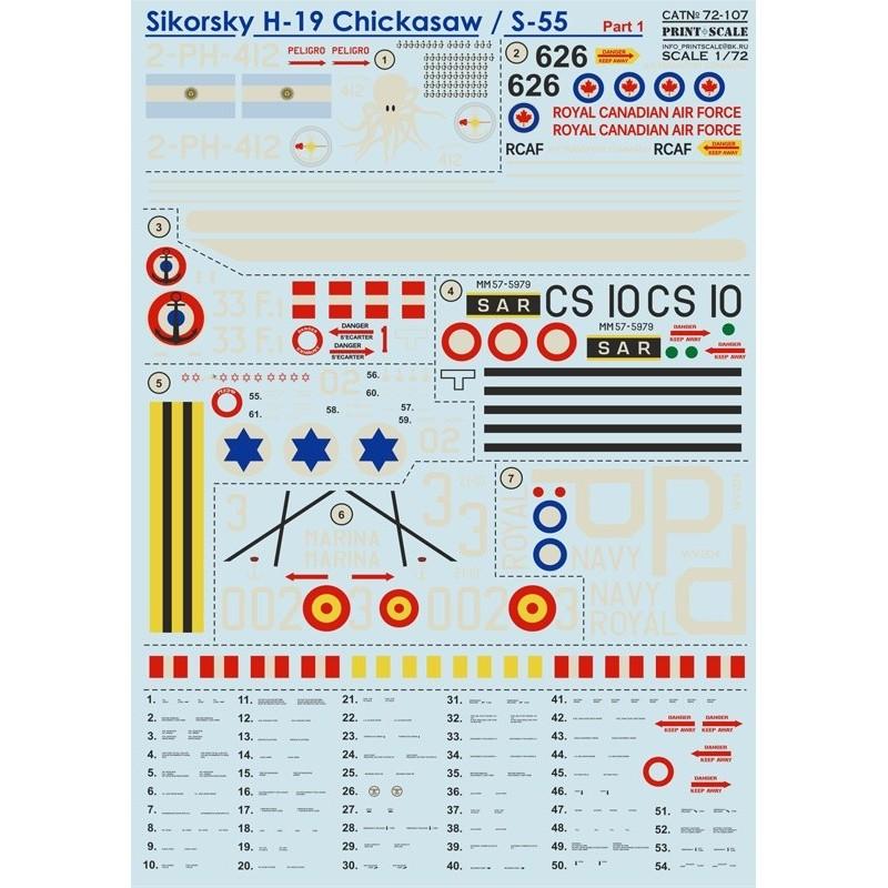 PRI-72107 printscale 72107 1/72 Sikorsky H-19  Part 1  Wet decal