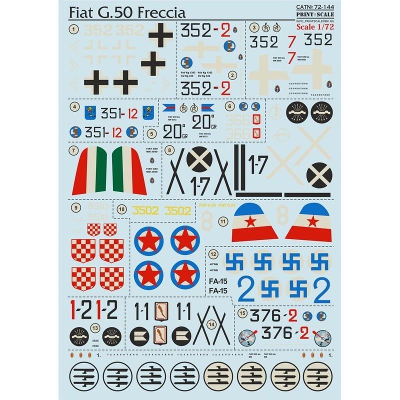 PRI-72144 printscale 72144 1/72 Fiat G.50 Freccia  Wet decal
