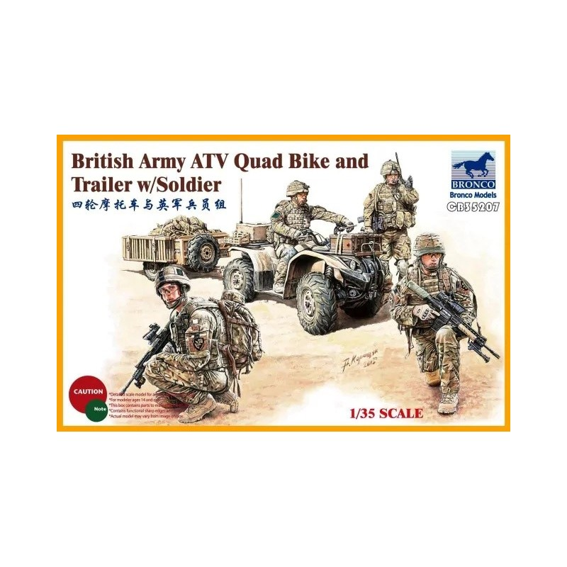 BM-35207 Bronco Models 35207 1/35 British Army ATV Quad Bike and Trailer with Soldier