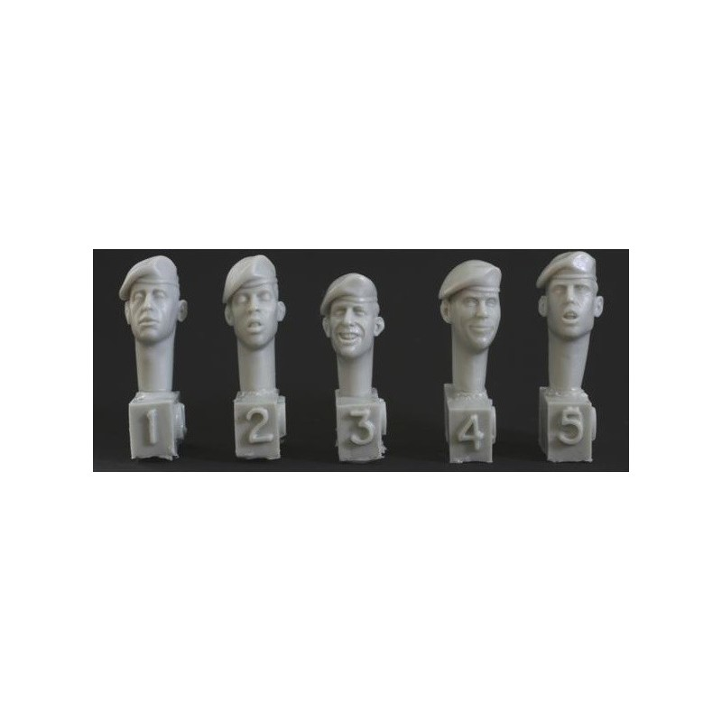 HOR-HQH01 HORNET HQH01 1/35 5 heads, unbadged berets, US/RM style