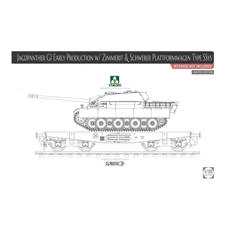 TKM-2125X Takom 2125X 1/35 Jagdpanther G1 Early w/ Zimmerit  Schweber Platformwagen Type SSys (interior not included) Limited Ed