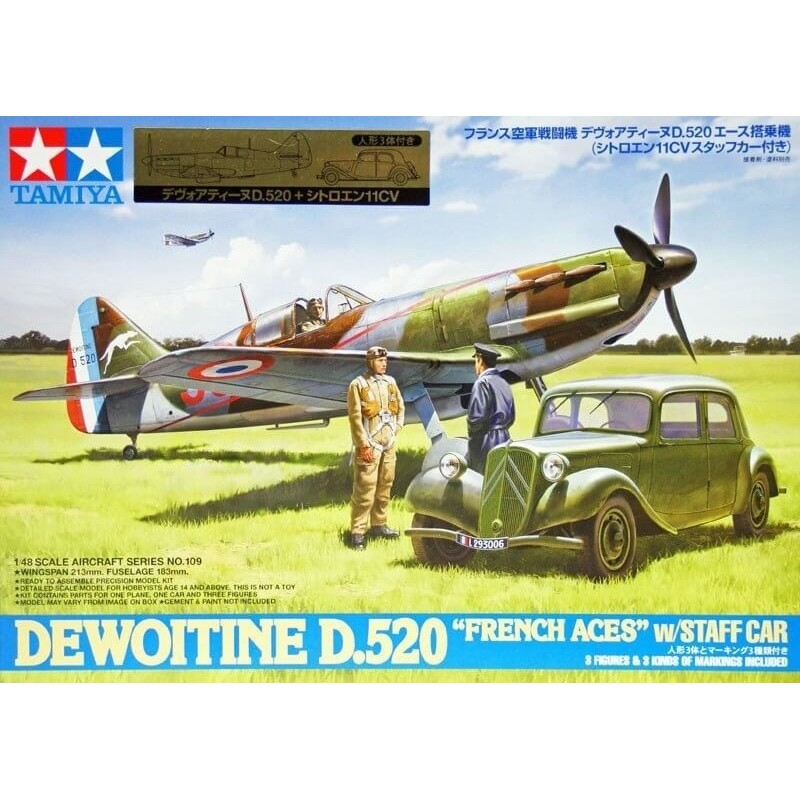 TAM-61109 Tamiya 61109 1/48 Dewoitine D.520 French Aces - w/Staff Car