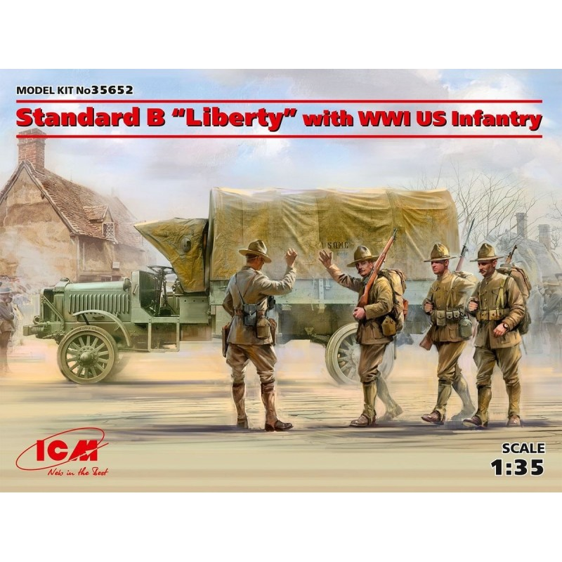"ICM-35652 ICM 35652 1/35 Standard B ""Liberty"" with WWI US Infantry"