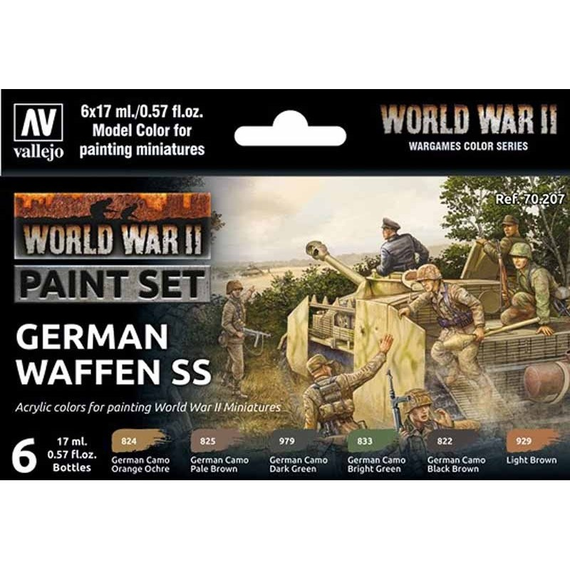 VAL-70207 Vallejo 70207 Model Colour WWII German Waffen SS Acrylic 6 Colour Paint Set