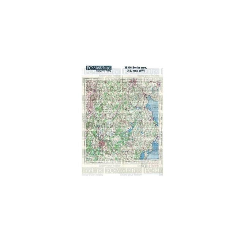 FC-36316 1/35 Base Mapa norteamericano del área de berlín WWII.papel adhesivo