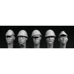 HOR-HAH01 1/35 5 heads of Japanese WWII infantry