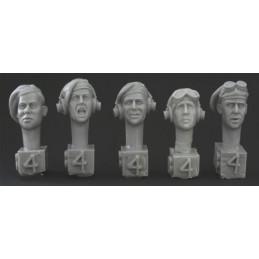 HOR-HBH04 1/35 5 heads.Brit.WW2. Tank beret