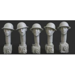 HOR-HBH06 1/35 5 heads, Brit. WW1 steel helmet