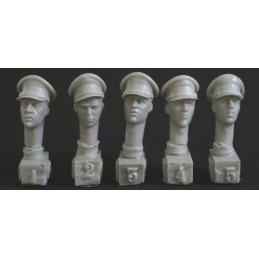 HOR-HBH10 1/35  5 heads, British officer's type peaked cap