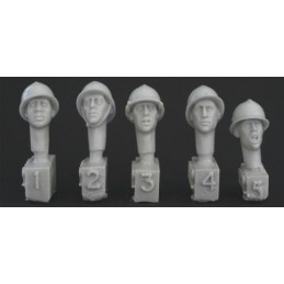 HOR-HFH02 1/35  5 heads, French WW2 type Adrian