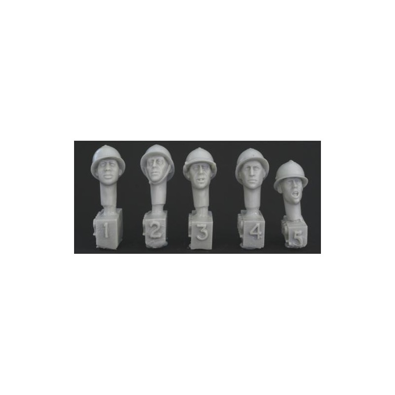 HOR-HFH02 1/35  5 heads, French WW2 type Adrian