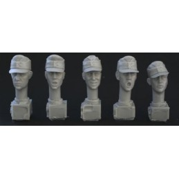 HOR-HGH01 1/35  5 heads. Ger. WW2 fieldcaps