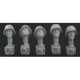HOR-HGH03 1/35 5 heads, Ger. WW2 covered helmets