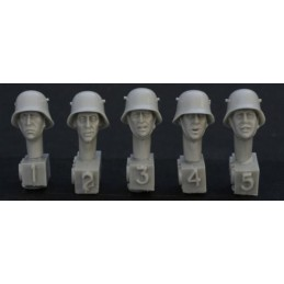 HOR-HGH09 1/35 5 heads, Ger. WW1 steel helmet