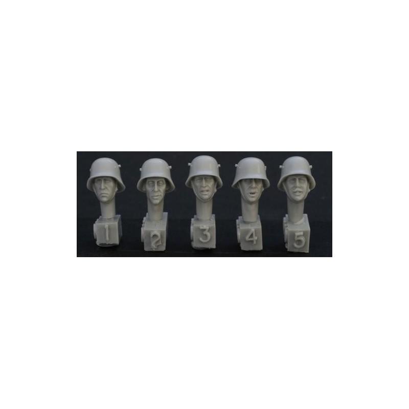 HOR-HGH09 1/35 5 heads, Ger. WW1 steel helmet