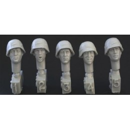 HOR-HGH16 1/35 5 heads, WW2 German Army helmet/cover
