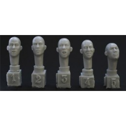 HOR-HH07 1/35 5 different east Asian bald heads