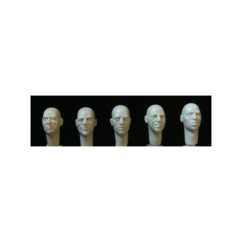 HOR-HH29 1/35 5 bald heads with one eye closed .sighting   rifles. telescopes etc.