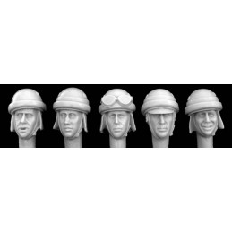HOR-HIH02 hornet HIH02 1/35 5 Heads in Italian WWII AFV Crewman/Motorcyclist Helmets