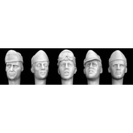 HOR-HIH03 HORNET HIH03 1/35  ITALIAN 5 ASSORTED HEADS - Officers in Field Caps