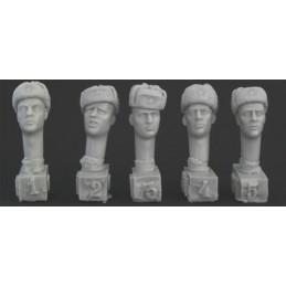HOR-HRH06 1/35 5 different heads Soviet ushanka caps