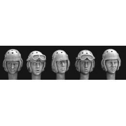 HOR-HUH08 1/35 5 heads in WW2 US tanker helmet